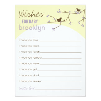 Chic Nesting Birds + Family Baby Shower Games Card