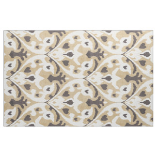 Chic neutral beige and brown ikat tribal patterns fabric