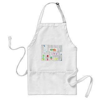 chic newspaper and veggies watercolor ilustration adult apron