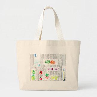 chic newspaper and veggies watercolor ilustration jumbo tote bag