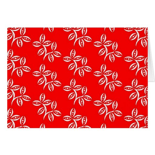 CHIC NOTE CARD_WHITE FLOWER PODS ON RED STATIONERY NOTE CARD