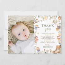 Chic Nursery Rhyme Greenery 1st Birthday Boy Girl Thank You Card