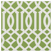 Chic Olive Green and White Trellis Pattern Fabric