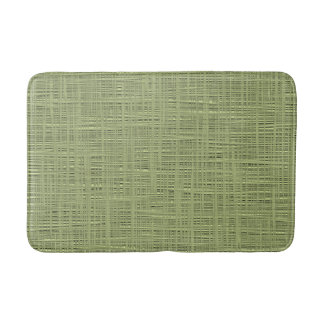 Chic Olive Green Color Faux Jute Fabric Pattern Bath Mat