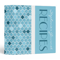 Chic Ombre Quatrefoil Pattern Recipe Binder - Blue