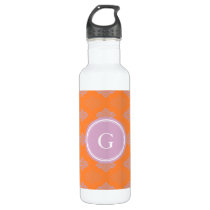 Chic orange abstract geometric pattern monogram stainless steel water bottle