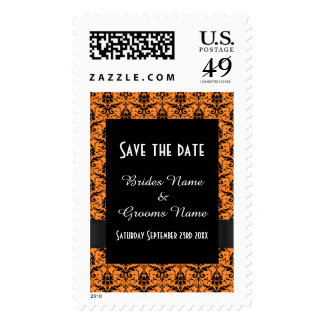 Chic orange and black damask save the date postage stamp