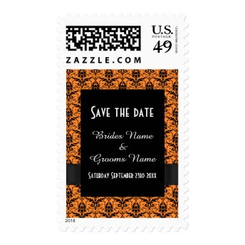 Chic orange and black damask save the date stamp