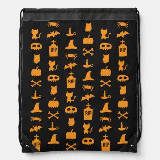 Chic Orange and Black Halloween Pattern Drawstring Backpack