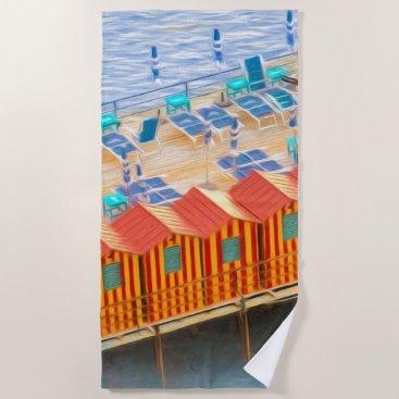Beach Themed Chic Orange and Blue Cabanas Beach Style Beach Towel