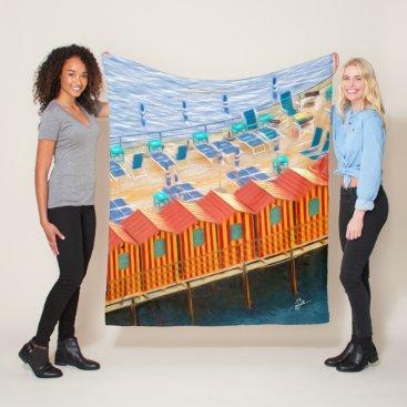Beach Themed Chic Orange and Blue Cabanas Beach Style Fleece Blanket