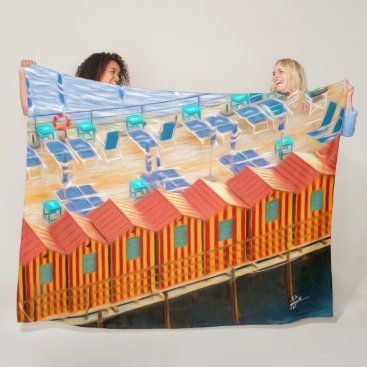 Chic Orange and Blue Cabanas Beach Style Fleece Blanket