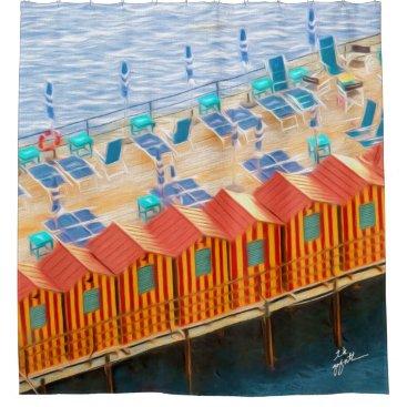 Beach Themed Chic Orange and Blue Cabanas Beach Style Shower Curtain
