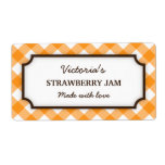 Chic orange and white gingham canning jar labels