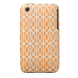 Chic Orange and White Moroccan Trellis Pattern iPhone 3 Cases