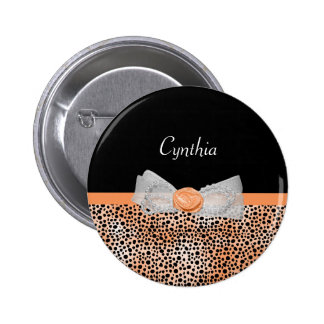 Chic Orange Cheetah Print Cute Rose Bow and Name 2 Inch Round Button