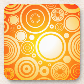 Chic orange circles pattern drink coaster