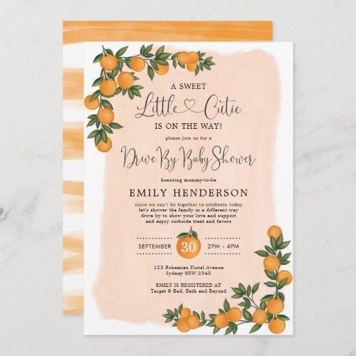 Chic Orange Drive By Baby Shower Citrus Quarantine Invitation