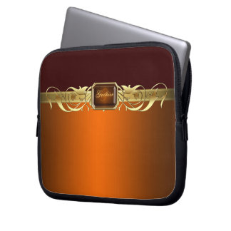 Chic Orange Faux Gold Scroll Two Tone  Sleeve Laptop Sleeves
