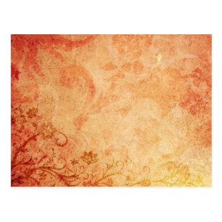 Chic Orange Floral Texture Postcard