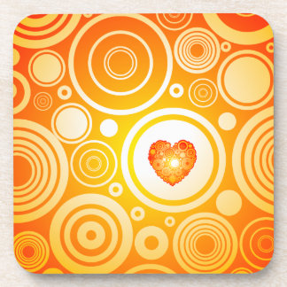 Chic orange heart drink coaster