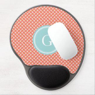 Chic orange herringbone geometric pattern monogram gel mouse pad