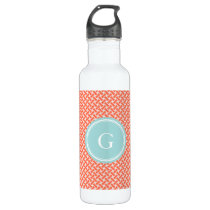 Chic orange herringbone geometric pattern monogram stainless steel water bottle