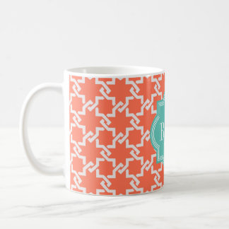 Chic orange interlocking pattern monogram coffee mug