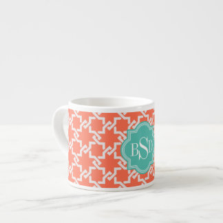 Chic orange interlocking pattern monogram espresso cup