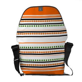 "Chic orange ""racing stripe"" pattern courier bag"