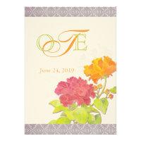 Chic Orange, Red Peony Monogram Wedding Invitation