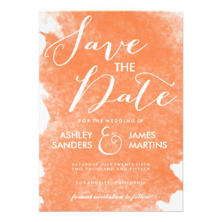 CHIC ORANGE WATERCOLOR SAVE THE DATE CUSTOM ANNOUNCEMENTS