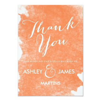 """CHIC ORANGE WATERCOLOR THANK YOU CARDS 5"""" X 7"""" INVITATION CARD"""
