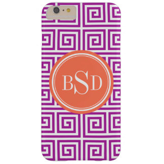 Chic orchid greek key geometric patterns monogram barely there iPhone 6 plus case