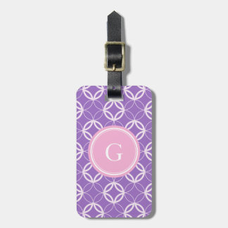 Chic orchid Moroccan circle pattern monogram Tag For Bags