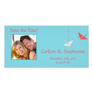 Chic Origami Birds Photo Wedding Announcement