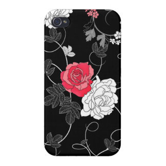 Chic Ornate Red and White Roses Cases For iPhone 4