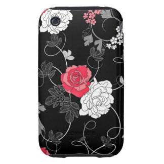 Chic Ornate Red and White Roses Tough iPhone 3 Cover