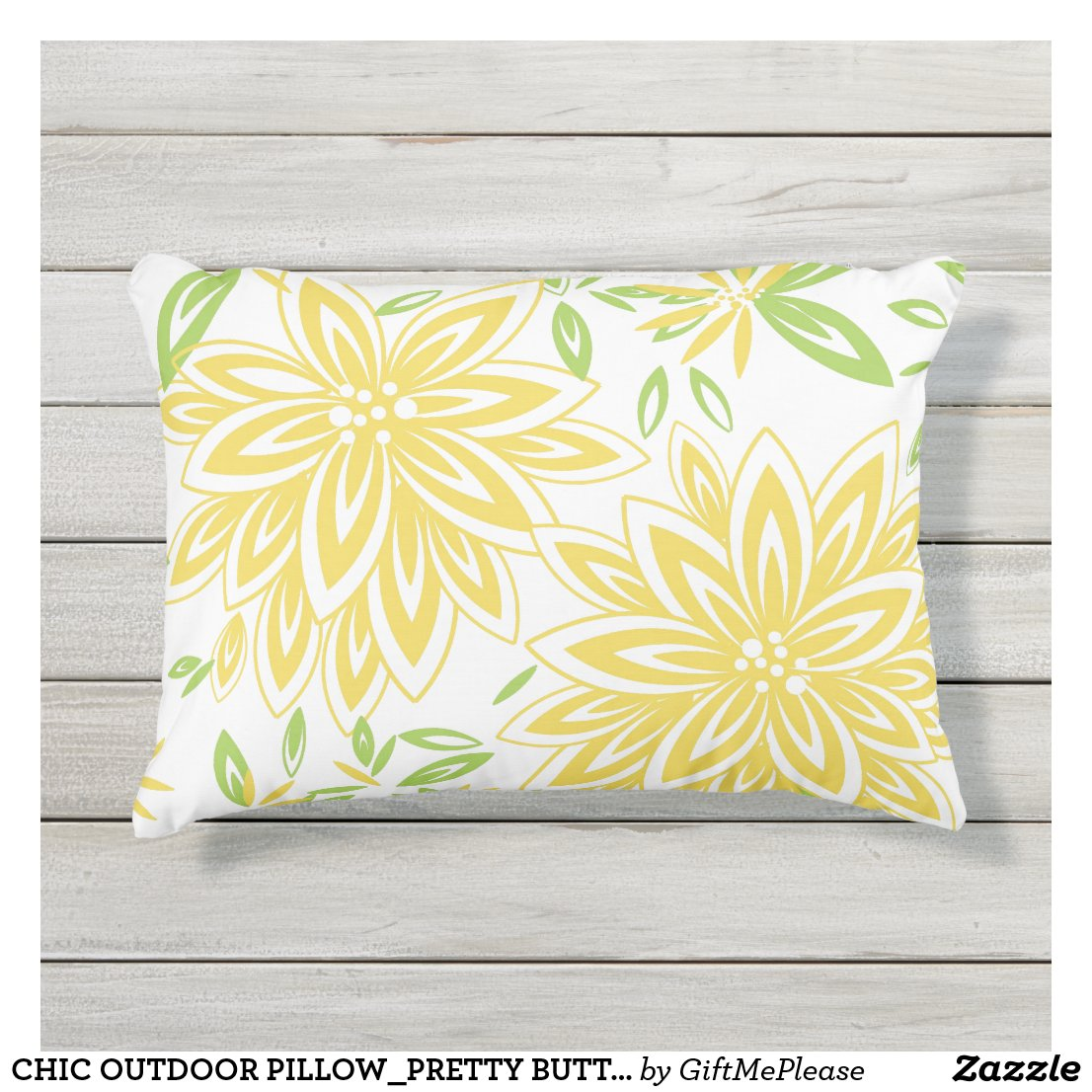 CHIC OUTDOOR PILLOW_PRETTY BUTTER YELLOW FLORAL OUTDOOR PILLOW