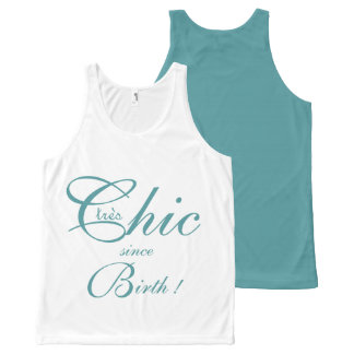 CHIC OVERALL DESIGN TOP_tres Chic_413 TEAL All-Over Print Tank Top