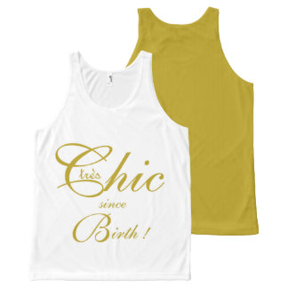 CHIC OVERALL DESIGN TOP_tres Chic_GOLD All-Over Print Tank Top
