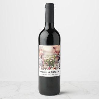 Chic Overlay   Wedding Favor Photo Wine Labels