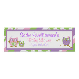 Chic Owls Baby Shower Banner Poster