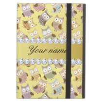 Chic Owls Faux Gold Foil Bling Diamonds Cover For iPad Air