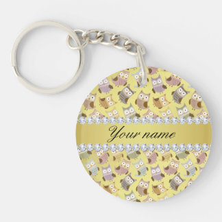Chic Owls Faux Gold Foil Bling Diamonds Keychain