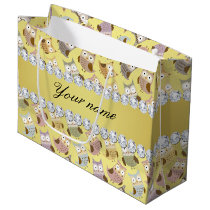 Chic Owls Faux Gold Foil Bling Diamonds Large Gift Bag