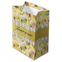 Chic Owls Faux Gold Foil Bling Diamonds Medium Gift Bag
