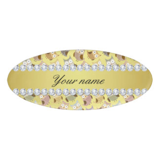Chic Owls Faux Gold Foil Bling Diamonds Name Tag