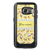 Chic Owls Faux Gold Foil Bling Diamonds OtterBox Samsung Galaxy S7 Case