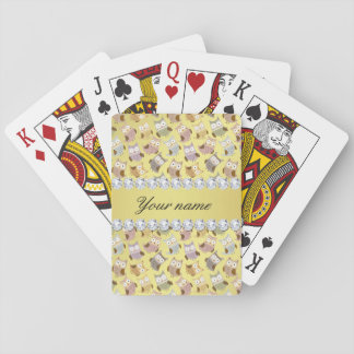 Chic Owls Faux Gold Foil Bling Diamonds Playing Cards